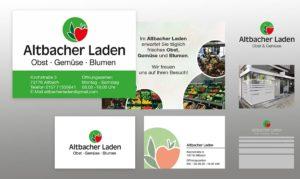 Flyer, Visitenkarten und Druck, Gestaltung Umsetzung von der Schaufensterbeschriftung für den Gemüseladen in Altbach