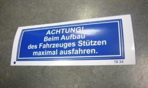 Aufkleber Hinweisaufkleber Warnaufkleber SJ-Design in Deiziau