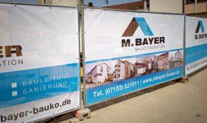 Bauzaunbanner für Bayer Baukoordination
