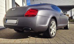 Bentley Carwrapping matte Kofferraum und Stoßstange für einen Kunden in Esslingen