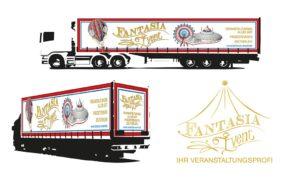 Fantasia Events Digitaldruck Lkw Plane in Mannheim Gestaltung vom Entwurf bis zur Produktion