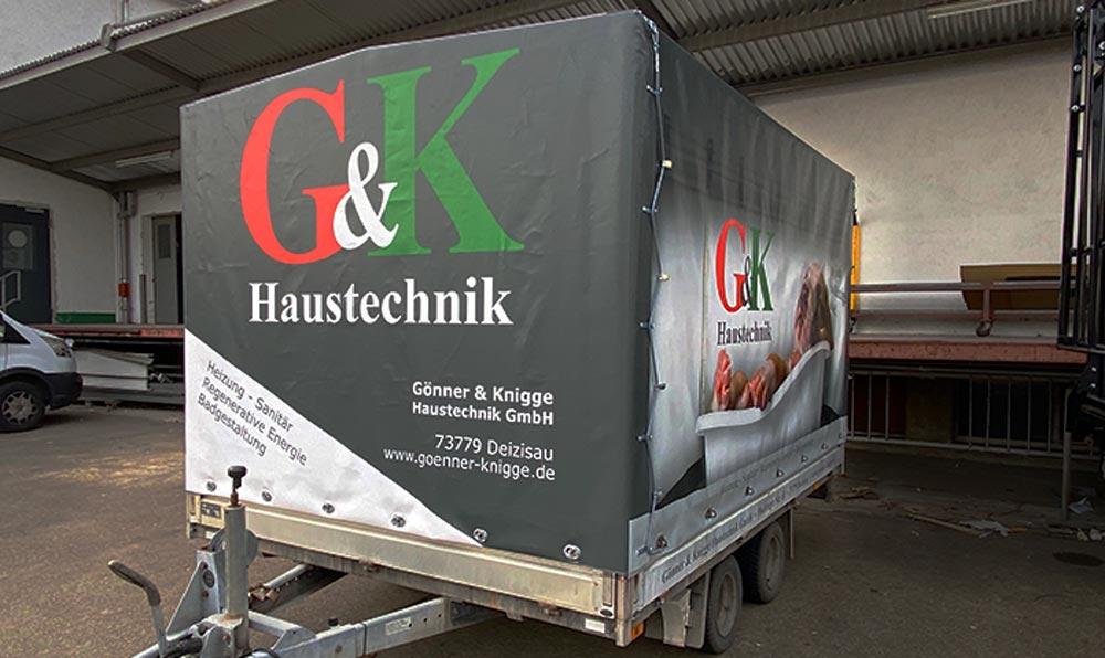 G&K Haustechnik Anhänger im Digitaldruck