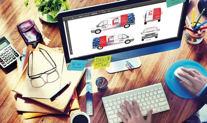 Ihre kreative Werbetechnik mit Werbeagentur die Firma SJ-Design aus Deizisau bei Esslingen, der Full-Service Partner für Logogestaltung, der Entwurf und die Produktion Ihrer Werbung bis hin zur Montage oder Folierung