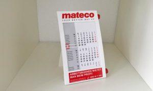 Mateco 3-Jahres Tischkalender mit Logodruck und Hotline Telefonnummer