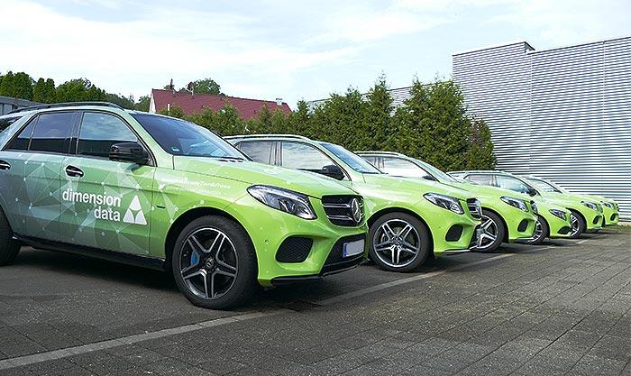 Mercedes Benz Flotte für Tour de France foliert Data Dimension