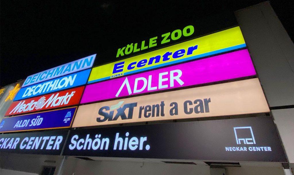 Leuchttransparente für Großreklame Neckar Center Esslingen
