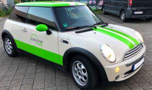 Mini Cooper Beschriftung für die Schelztorklinik in Esslingen