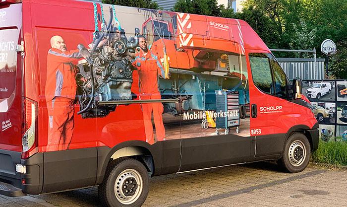 Scholpp Fahrzeugwerbung Vollfolierung für die Niederlassung Stuttgart Werkstattwagen