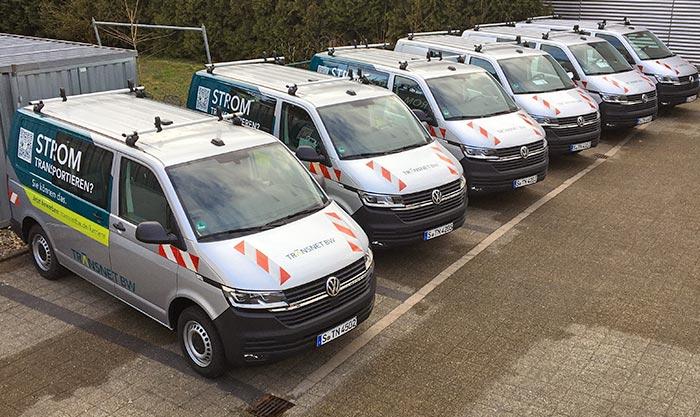 Fahrzeugflotte der Transnet BW mit Teilfolierung VW Bus Mitarbeiterfahrzeuge