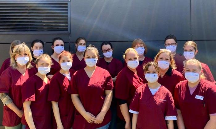 Masken für die Zahnarztpraxis Vogelsang bedruckt