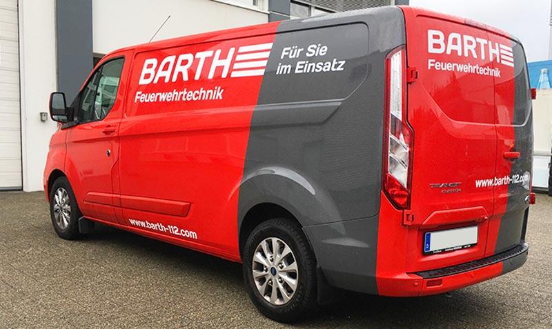 Ford Transit Cutsom Fahrzeugbeschriftung Barth Feuerwehrtechnik