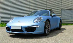 Porsche Carrera Vollfolierung Avery Blue Metallic